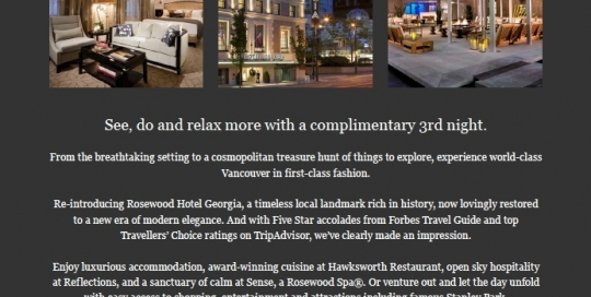 Rosewood Hotel Georgia Vancouver email campaign